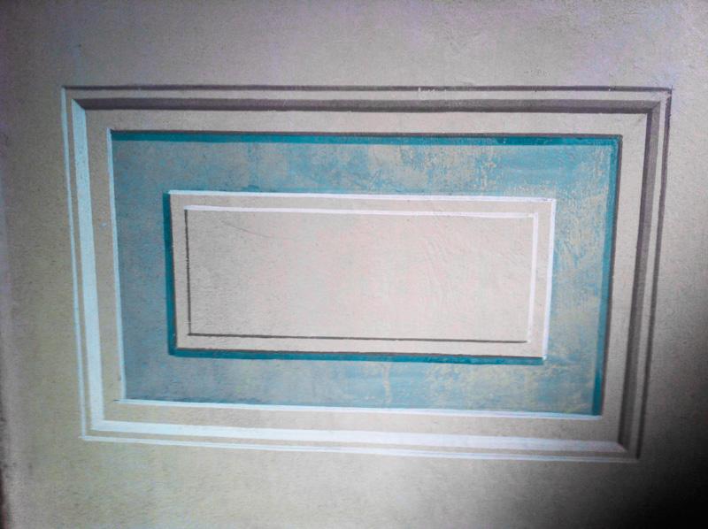 Boiserie cassettone bianco con bordoazzurro