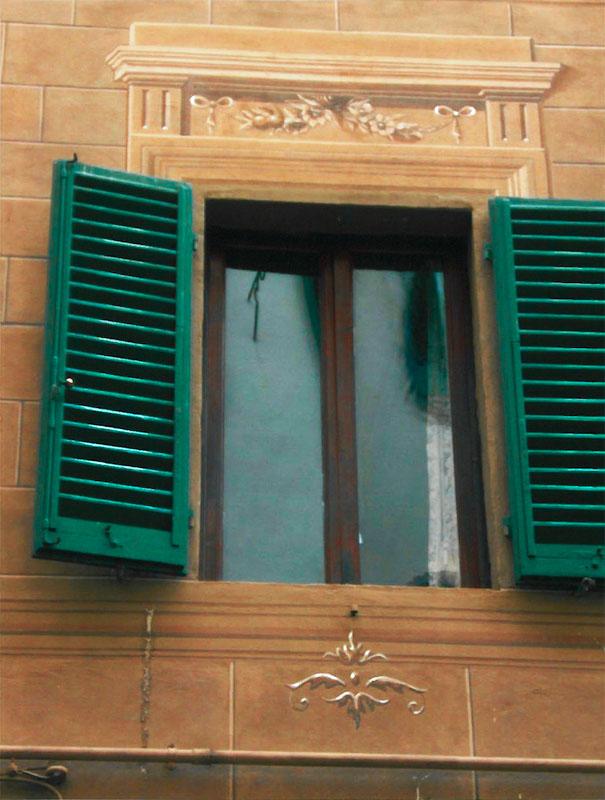 Restauri Pittorici particolare facciata trompe oeil