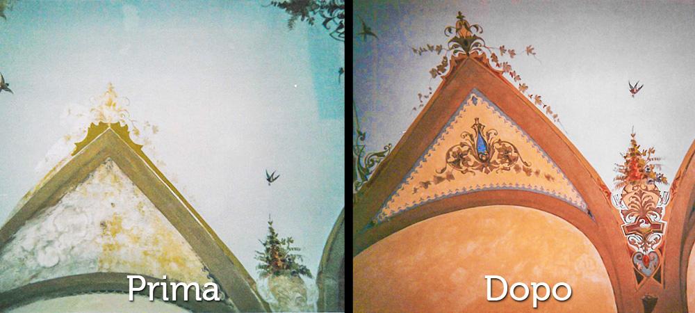 Restauri Pittorici particolare decorazione arco