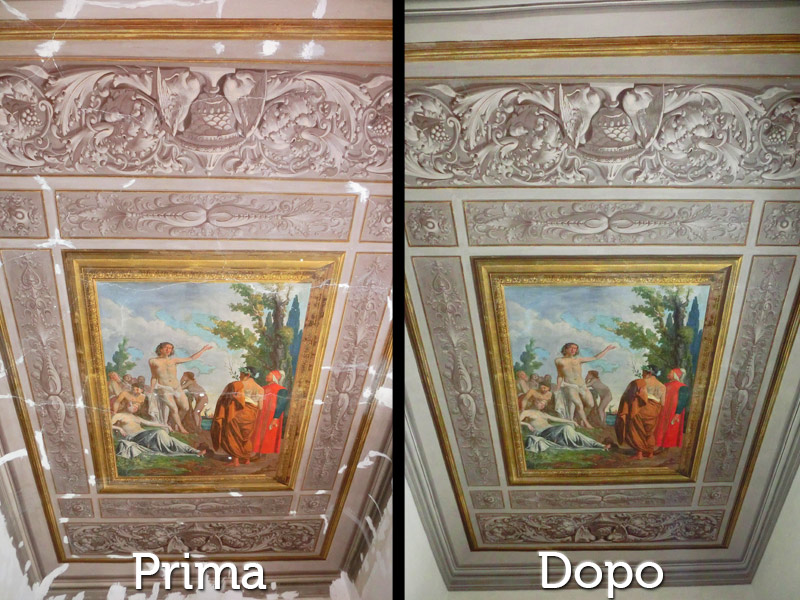 Restauri Pittorici decorzaione soffitto quadro