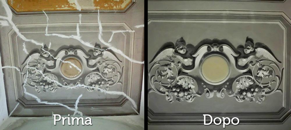 Restauri Pittorici particolare decorazione soffittotrompe oeil